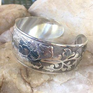 Engraved Tibetan silver peony bangle bracelet, NWT